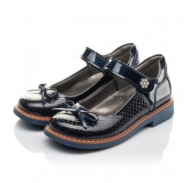 Детские туфли Woopy Fashion синие для девочек натуральная лаковая кожа размер 32-34 (4340) Фото 3