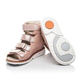 Детские ортопедические босоножки (с высоким берцем) Woopy Fashion бежевые для девочек натуральный нубук размер 19-36 (4343) Фото 2