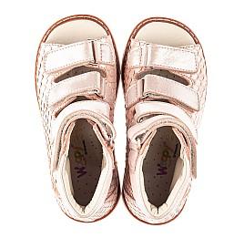 Детские ортопедические босоножки (с высоким берцем) Woopy Fashion бежевые для девочек натуральный нубук размер 19-36 (4343) Фото 5