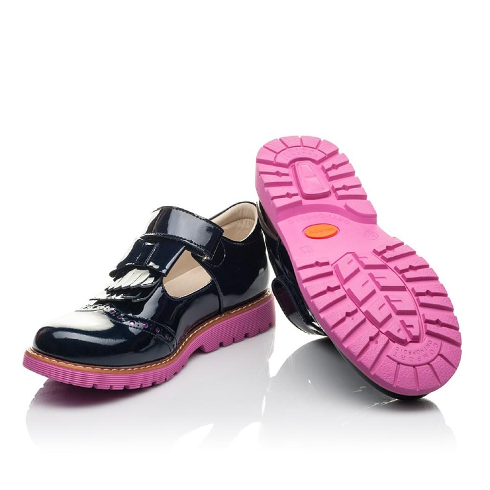 Детские туфли Woopy Fashion синие для девочек натуральная лаковая кожа размер 34-39 (4344) Фото 2