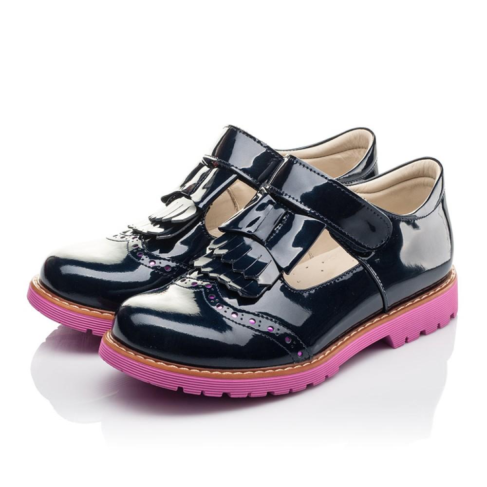 Детские туфли Woopy Fashion синие для девочек натуральная лаковая кожа размер 34-39 (4344) Фото 3