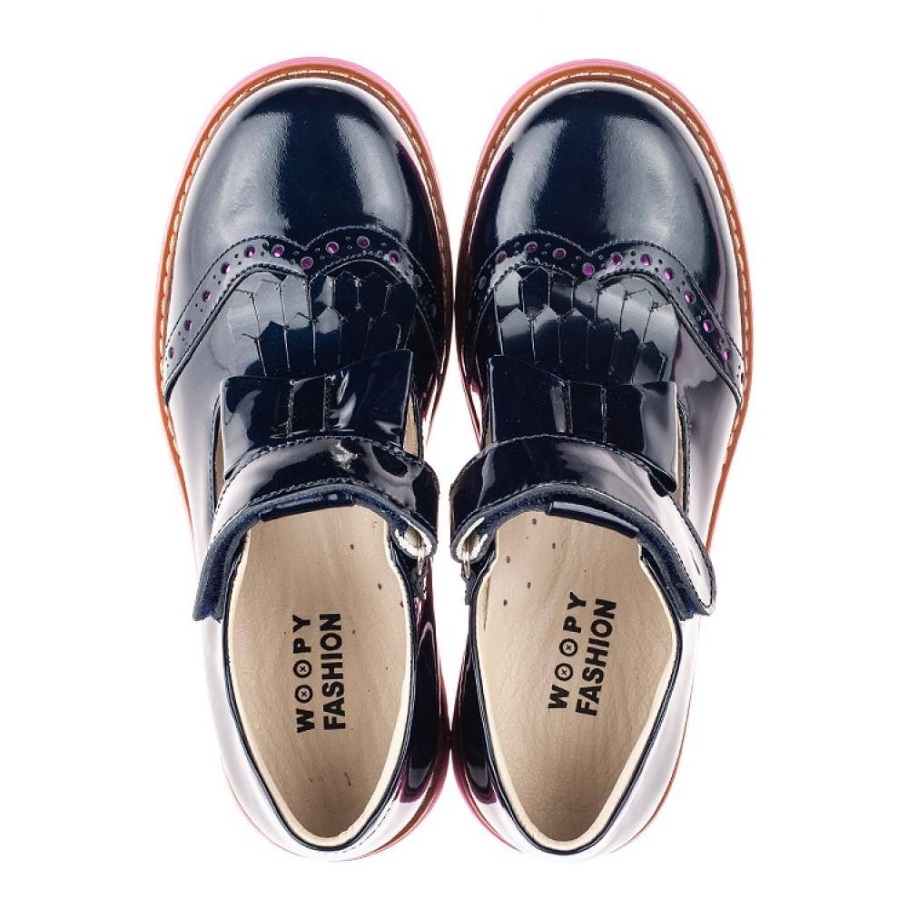 Детские туфли Woopy Fashion синие для девочек натуральная лаковая кожа размер 34-39 (4344) Фото 5