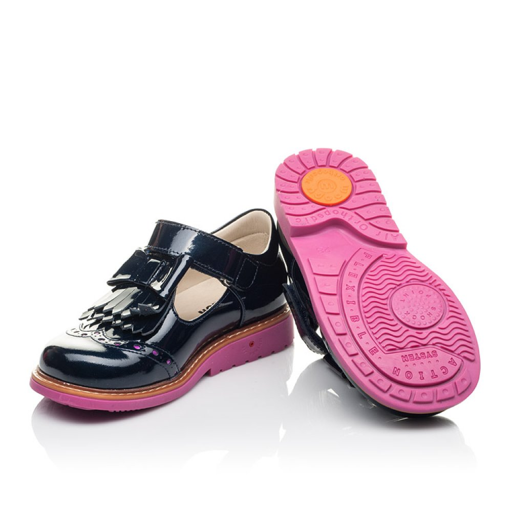 Детские туфли Woopy Fashion синие для девочек натуральная лаковая кожа размер 26-36 (4345) Фото 2