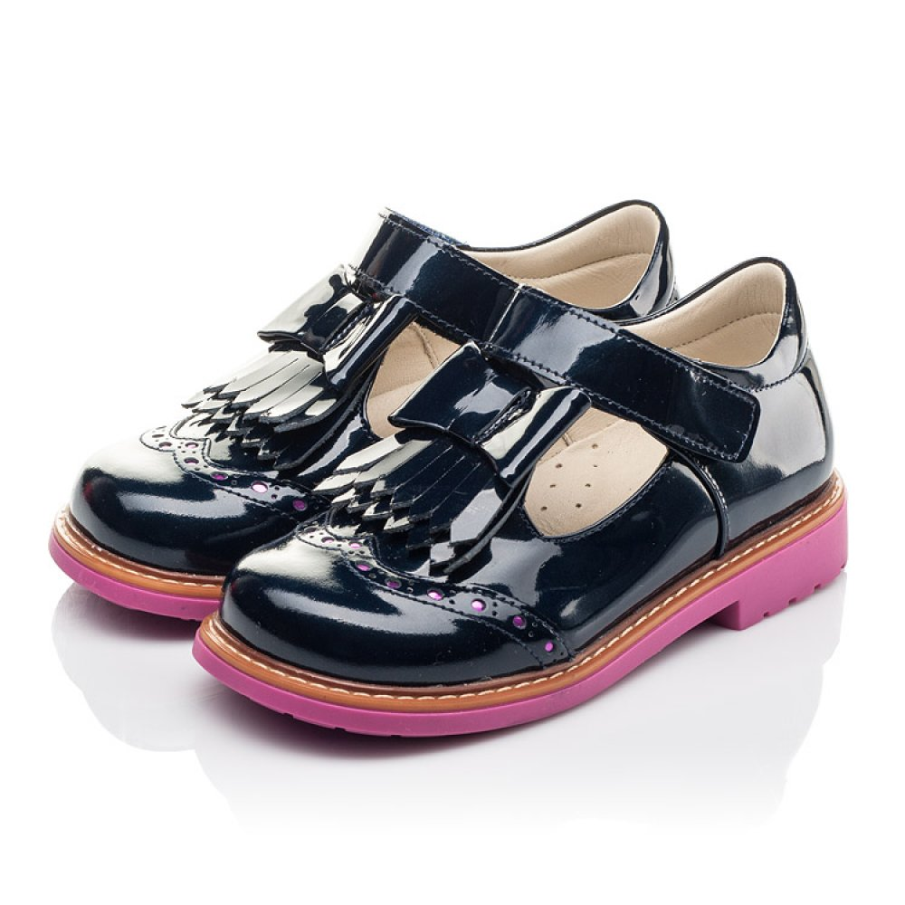 Детские туфли Woopy Fashion синие для девочек натуральная лаковая кожа размер 26-36 (4345) Фото 3