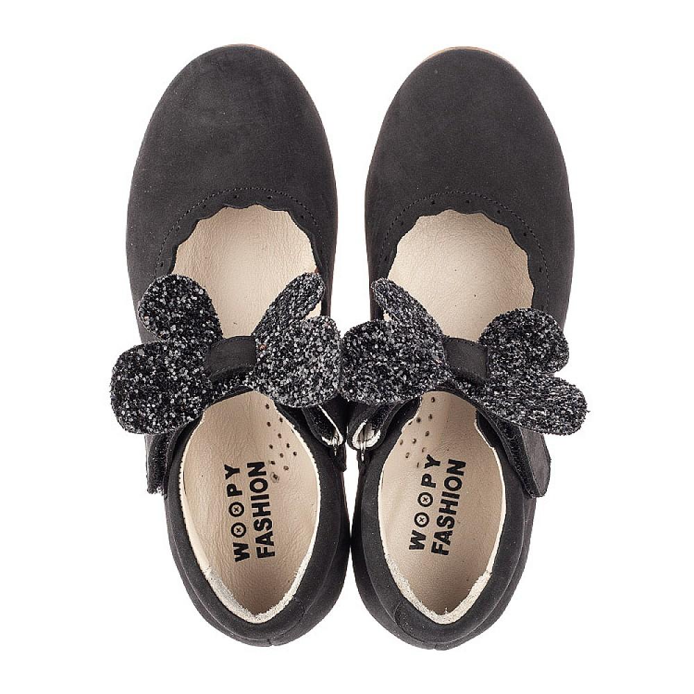 Детские туфли Woopy Fashion черные для девочек натуральный нубук размер 26-36 (4346) Фото 5
