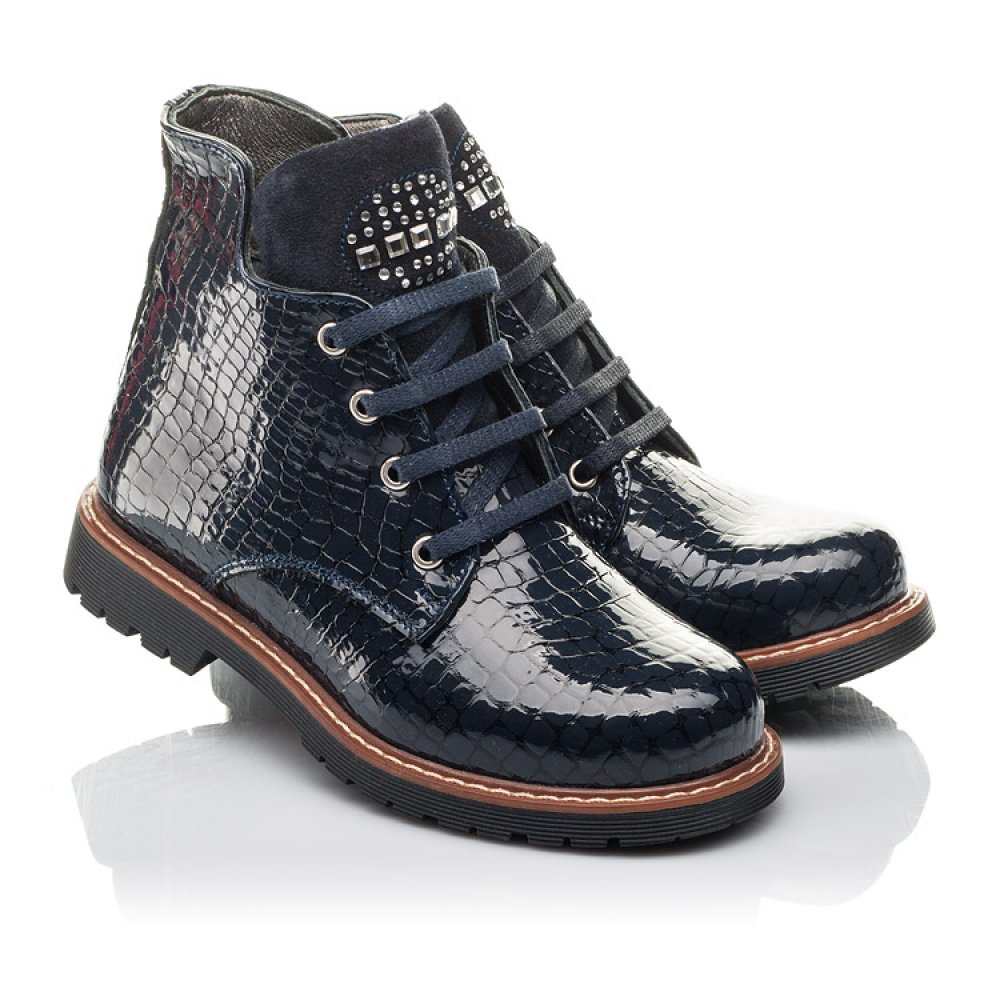 Детские демисезонные ботинки Woopy Fashion синие для девочек натуральная лаковая кожа размер 27-36 (4348) Фото 1