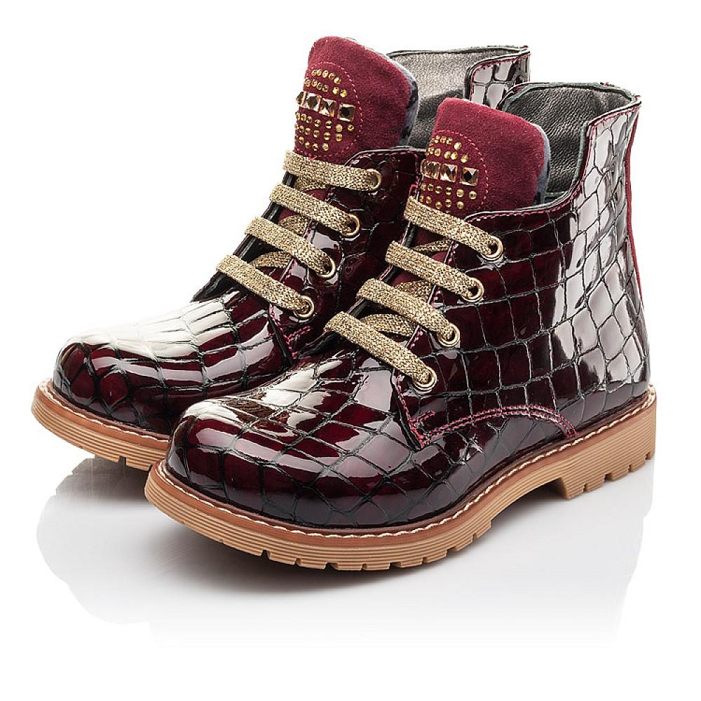 Детские демисезонные ботинки Woopy Fashion бордовые для девочек натуральная лаковая кожа размер 22-36 (4349) Фото 3