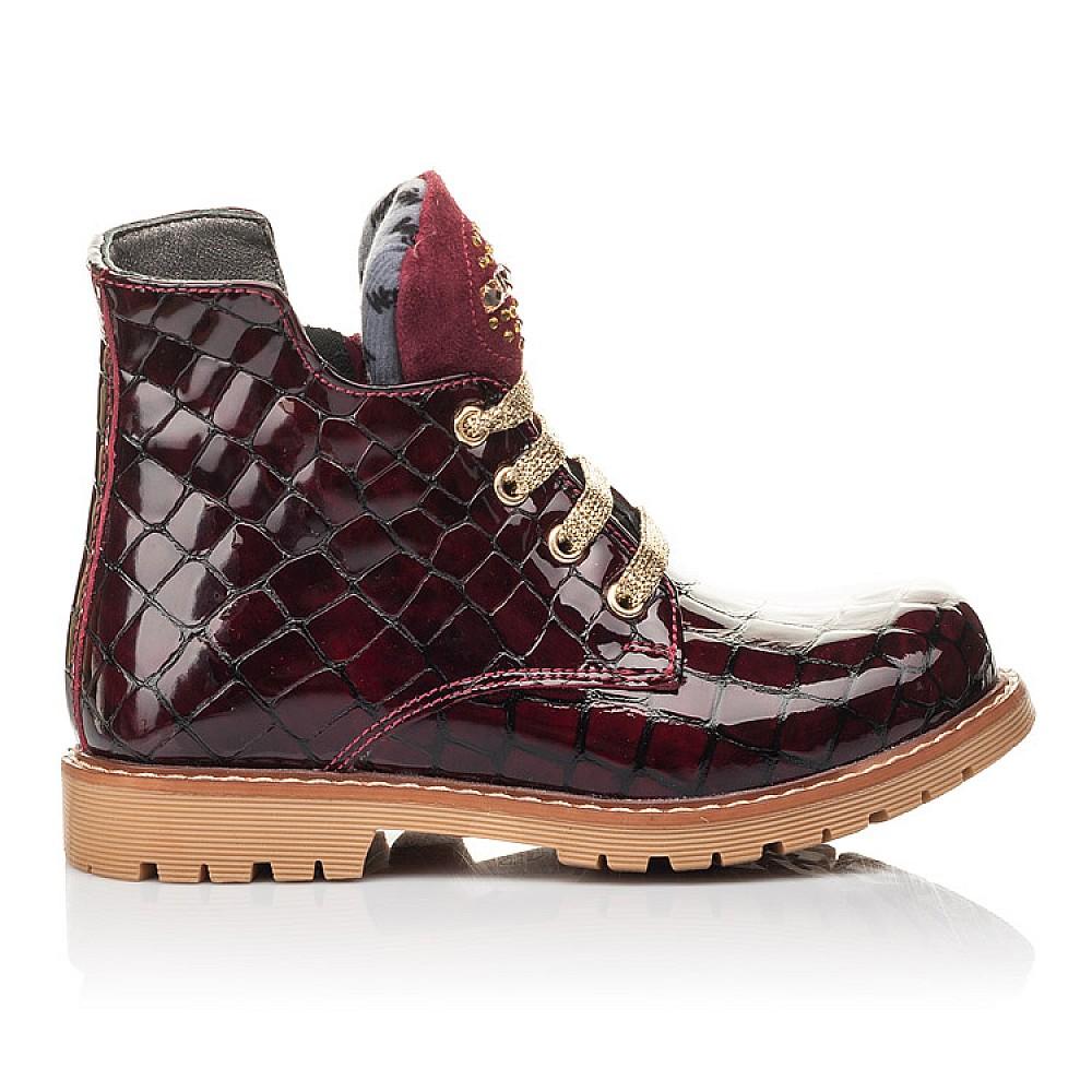 Детские демисезонные ботинки Woopy Fashion бордовые для девочек натуральная лаковая кожа размер 22-36 (4349) Фото 4