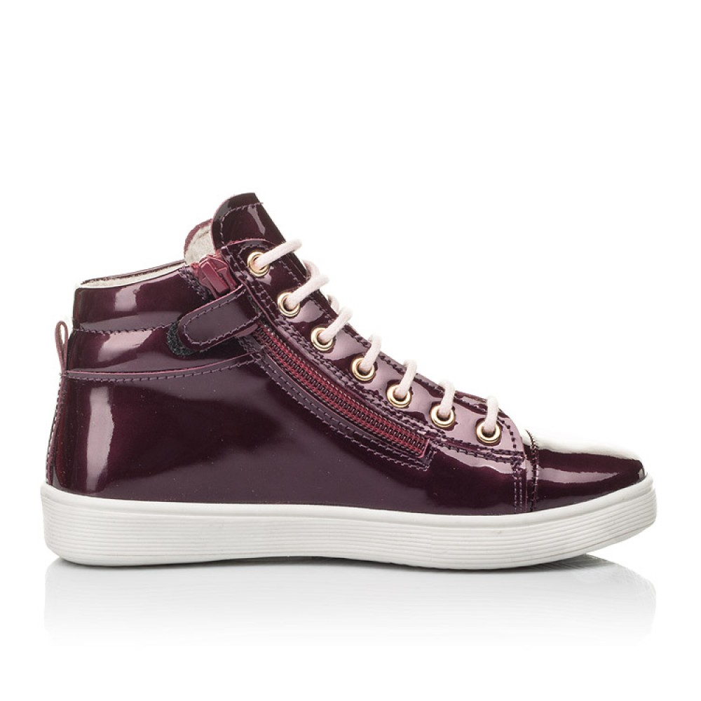 Детские демисезонные ботинки Woopy Fashion бордовые для девочек натуральная лаковая кожа размер 27-40 (4351) Фото 4