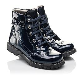 Детские демисезонные ботинки Woopy Fashion синие для девочек  натуральная лаковая кожа размер 29-39 (4356) Фото 1