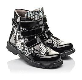 Детские демисезонные ботинки Woopy Fashion черные для девочек натуральная лаковая кожа и нубук размер 30-38 (4357) Фото 1