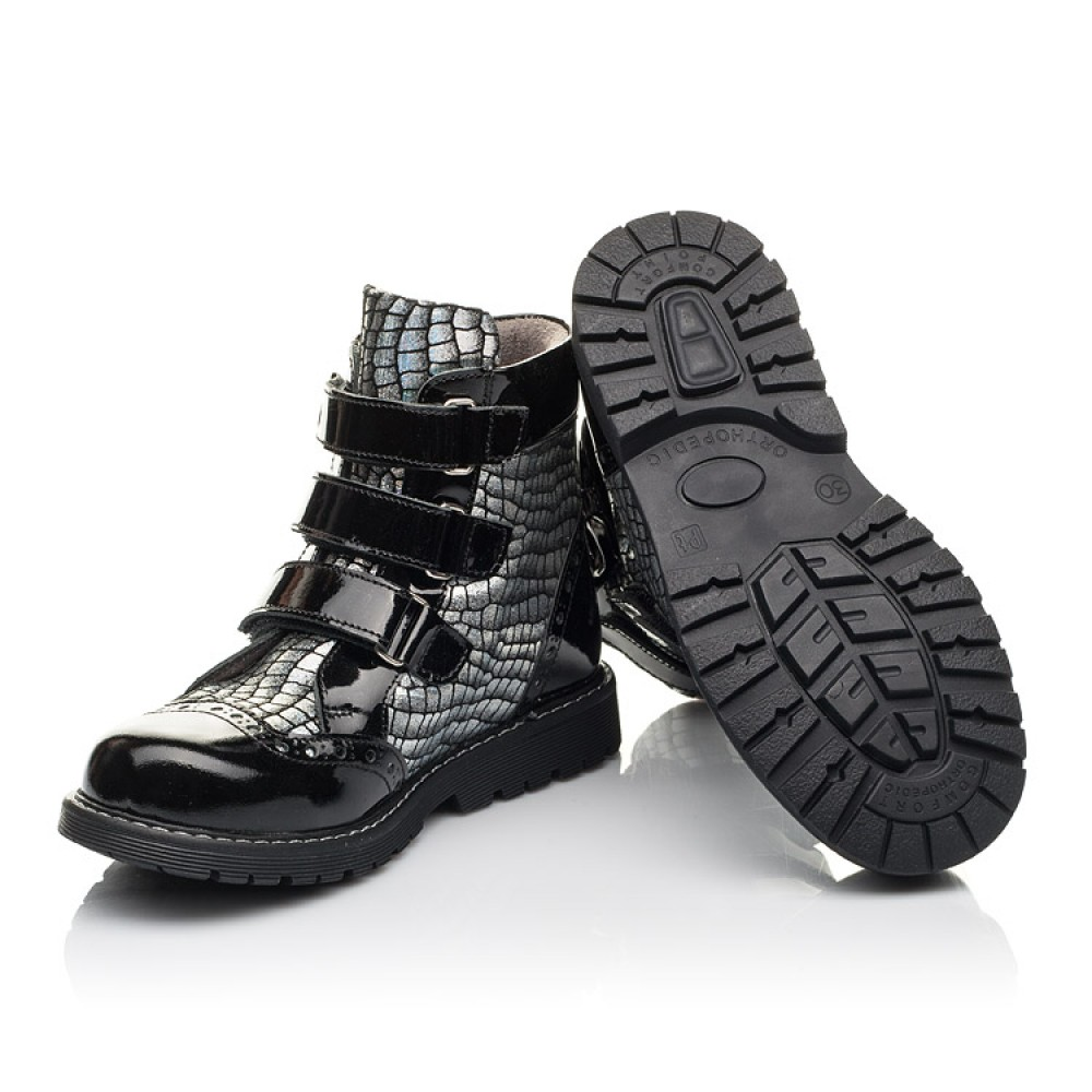 Детские демисезонные ботинки Woopy Fashion черные для девочек натуральная лаковая кожа и нубук размер 23-38 (4357) Фото 2