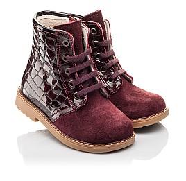 Детские демисезонные ботинки Woopy Fashion бордовые для девочек натуральная лаковая кожа и нубук размер 20-30 (4358) Фото 1