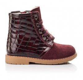 Детские демисезонные ботинки Woopy Fashion бордовые для девочек натуральная лаковая кожа и нубук размер 20-30 (4358) Фото 4