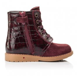Детские демисезонные ботинки Woopy Fashion бордовые для девочек натуральная лаковая кожа и нубук размер 20-30 (4358) Фото 5