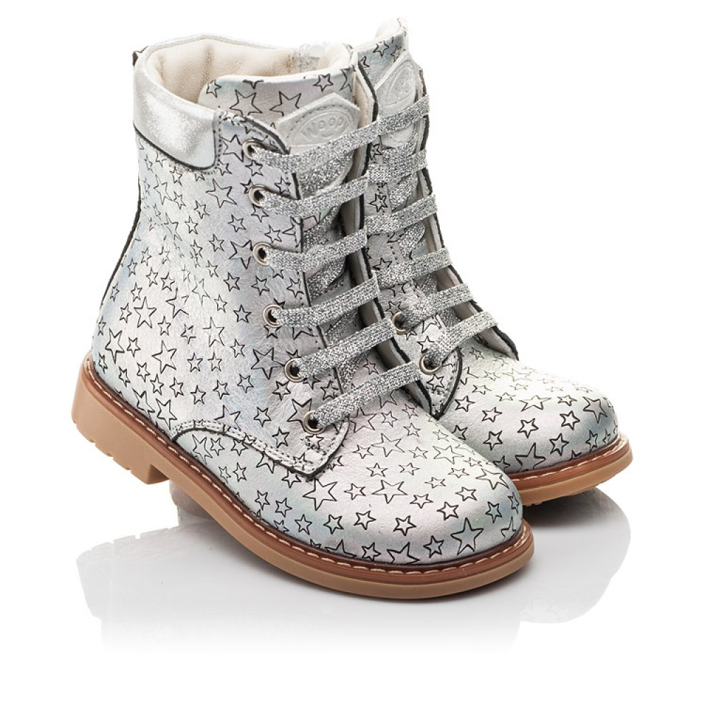Детские демисезонные ботинки Woopy Fashion серебряные для девочек натуральная кожа размер 24-30 (4359) Фото 1