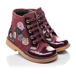 Детские демисезонные ботинки Woopy Fashion бордовые для девочек натуральный нубук, лаковая кожа размер 21-22 (4366) Фото 1