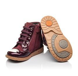 Детские демисезонные ботинки Woopy Fashion бордовые для девочек натуральный нубук, лаковая кожа размер 21-22 (4366) Фото 2