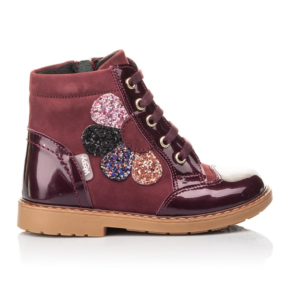 Детские демисезонные ботинки Woopy Fashion бордовые для девочек натуральный нубук, лаковая кожа размер 20-30 (4366) Фото 4