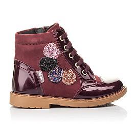 Детские демисезонные ботинки Woopy Fashion бордовые для девочек натуральный нубук, лаковая кожа размер 21-22 (4366) Фото 4