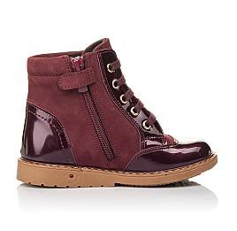 Детские демисезонные ботинки Woopy Fashion бордовые для девочек натуральный нубук, лаковая кожа размер 21-22 (4366) Фото 5