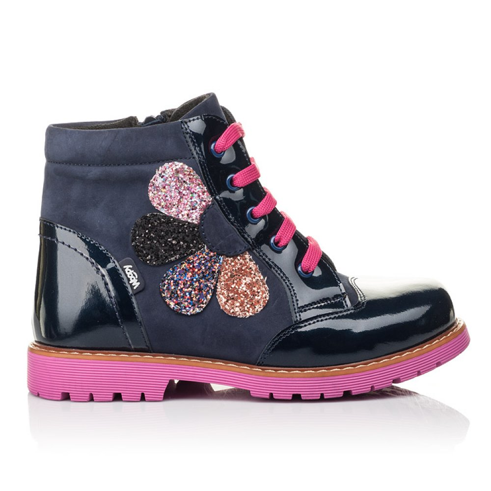 Детские демисезонные ботинки Woopy Fashion серые для девочек натуральный нубук, лаковая кожа размер 31-36 (4367) Фото 4