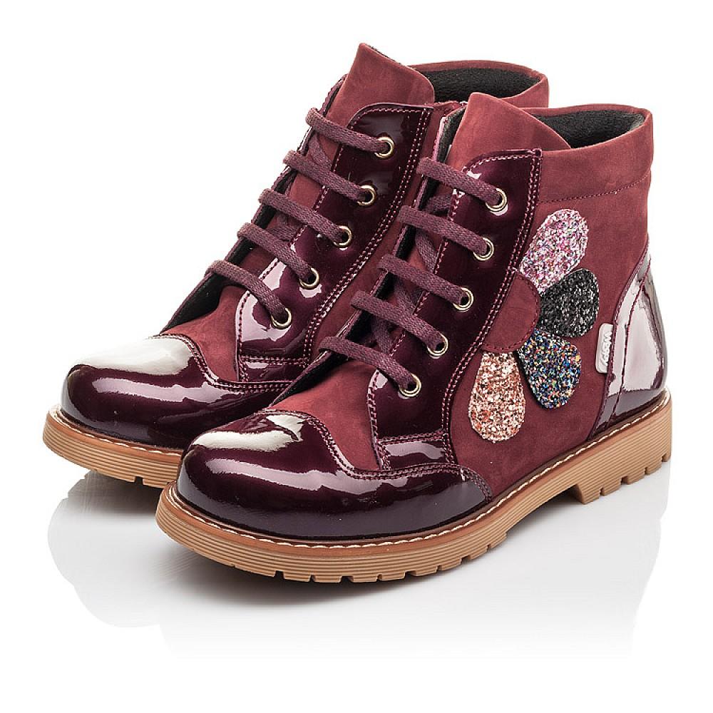 Детские демисезонные ботинки Woopy Fashion бордовые для девочек натуральный нубук, лаковая кожа размер 31-36 (4369) Фото 3