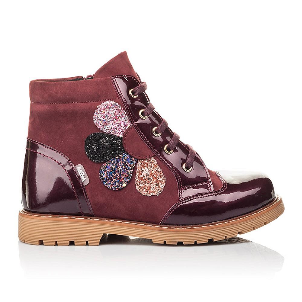 Детские демисезонные ботинки Woopy Fashion бордовые для девочек натуральный нубук, лаковая кожа размер 31-36 (4369) Фото 4
