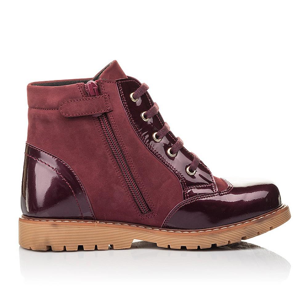 Детские демисезонные ботинки Woopy Fashion бордовые для девочек натуральный нубук, лаковая кожа размер 31-36 (4369) Фото 5
