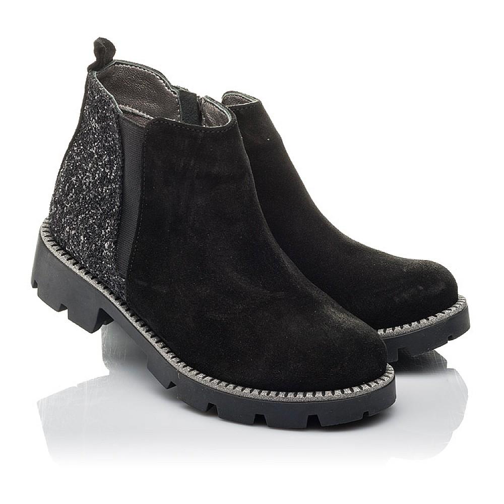 Детские демисезонные ботинки Woopy Fashion черные для девочек натуральная замша, текстиль размер 32-39 (4374) Фото 1