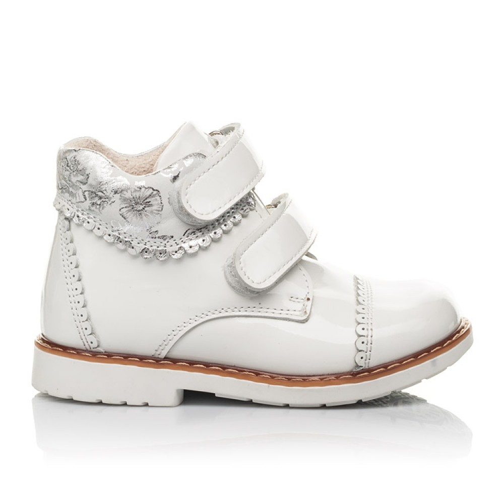 Детские демисезонные ботинки Woopy Fashion белые для девочек натуральная лаковая кожа размер 20-30 (4376) Фото 4