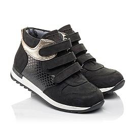 Детские демисезонные ботинки Woopy Fashion черные для девочек натуральный нубук, лаковая кожа размер 29-39 (4378) Фото 1