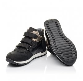 Детские демисезонные ботинки Woopy Fashion черные для девочек натуральный нубук, лаковая кожа размер 29-39 (4378) Фото 2