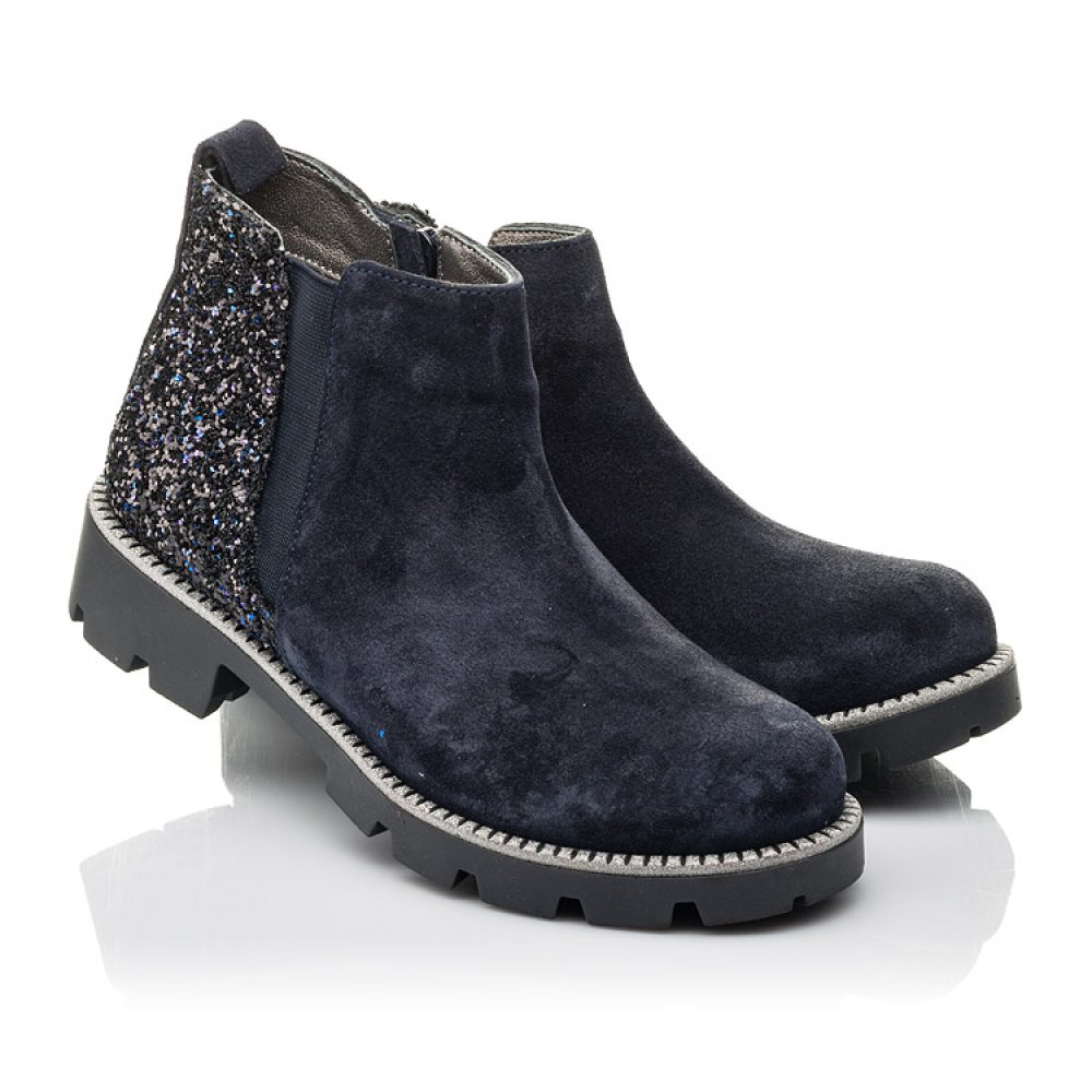 Детские демисезонные ботинки Woopy Fashion синие для девочек натуральная замша, текстиль размер 32-39 (4379) Фото 1
