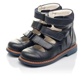 Детские ортопедические туфли (с высоким берцем) Woopy Fashion синие для мальчиков натуральная кожа размер 23-34 (4386) Фото 2
