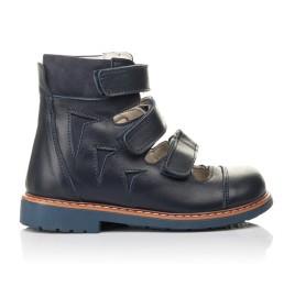 Детские ортопедические туфли (с высоким берцем) Woopy Fashion синие для мальчиков натуральная кожа размер 23-34 (4386) Фото 3