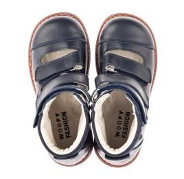 Детские ортопедические туфли (с высоким берцем) Woopy Fashion синие для мальчиков натуральная кожа размер 23-32 (4386) Фото 4