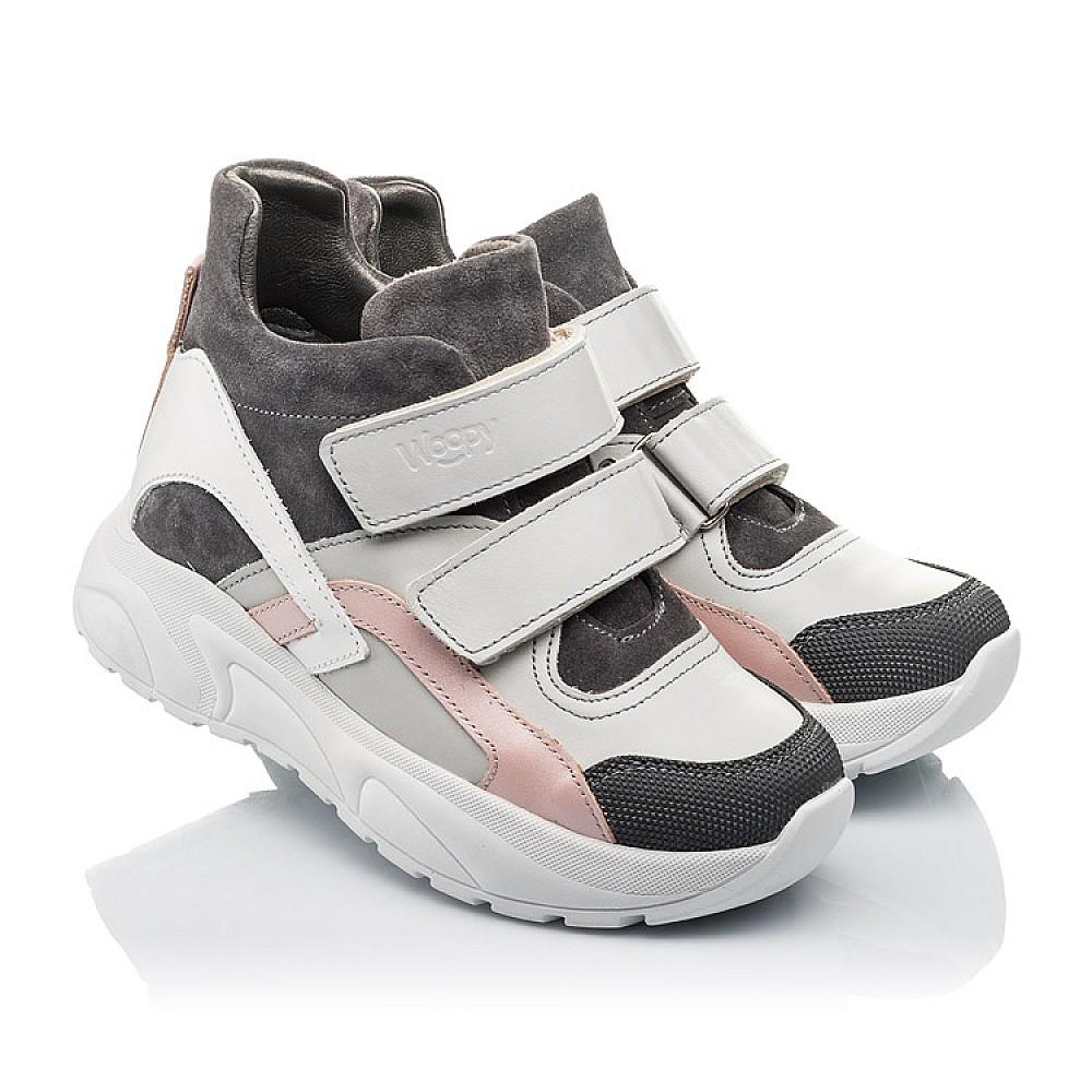 Детские демисезонные ботинки Woopy Fashion серые для девочек натуральная лаковая кожа и замша размер 26-40 (4390) Фото 1