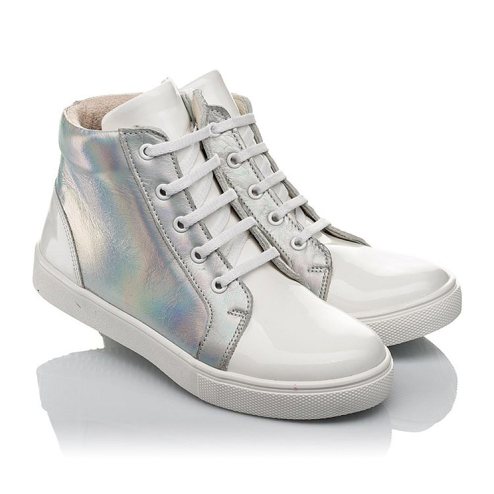 Детские демисезонные ботинки Woopy Fashion белые для девочек натуральная кожа / лаковая кожа размер 31-36 (4395) Фото 1