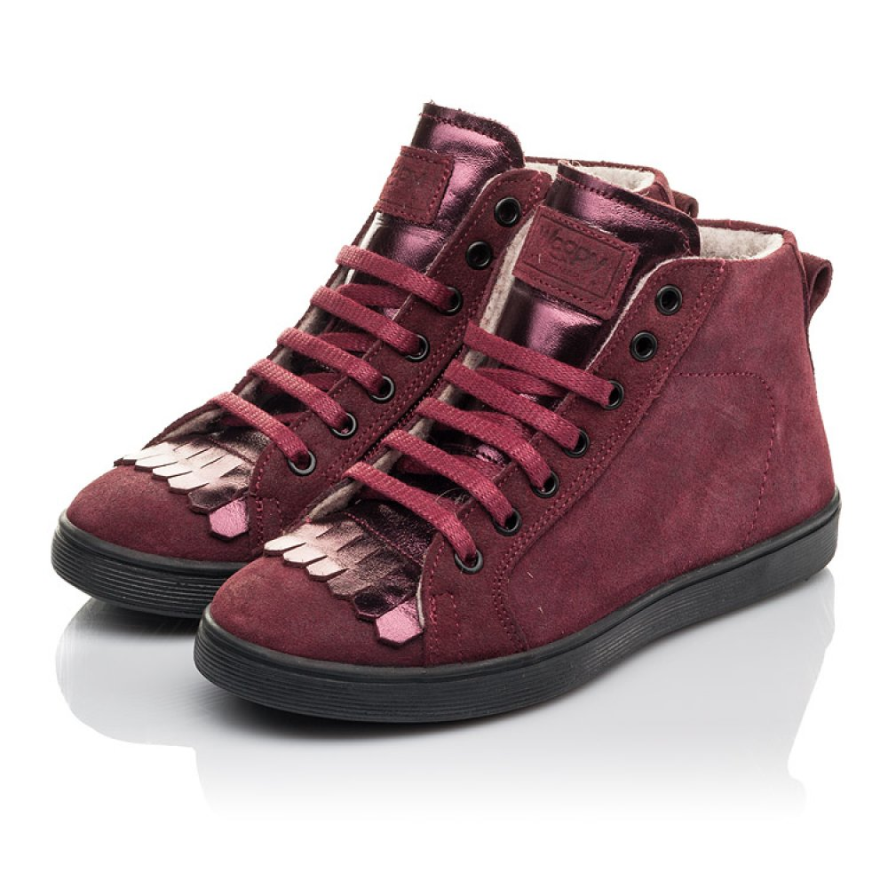 Детские демисезонные ботинки Woopy Fashion бордовые для девочек натуральная замша размер 27-40 (4399) Фото 3