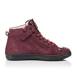 Детские демисезонные ботинки Woopy Fashion бордовые для девочек натуральная замша размер 27-40 (4399) Фото 5