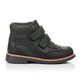 Детские демисезонные ботинки Woopy Orthopedic зеленые для мальчиков натуральный нубук OIL размер 26-35 (4401) Фото 4