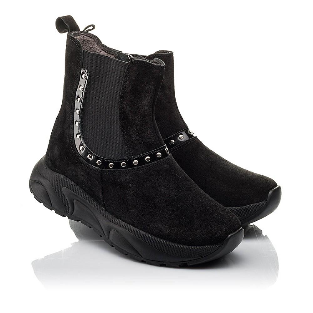 Детские демисезонные ботинки Woopy Fashion черные для девочек натуральный нубук размер 33-40 (4411) Фото 1