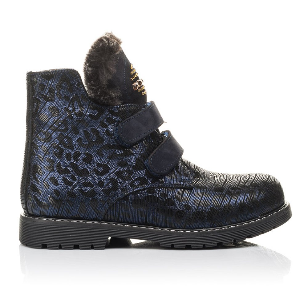 Детские зимние ботинки на меху Woopy Fashion синие для девочек натуральный нубук размер 20-38 (4414) Фото 4