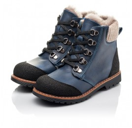Детские зимові черевики на хутрі Woopy Fashion синие для мальчиков натуральная кожа размер 21-33 (4415) Фото 3