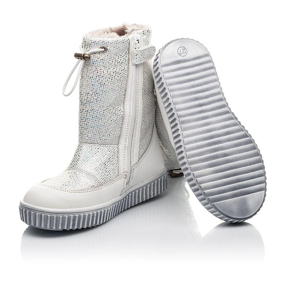 Детские зимние сапоги на меху Woopy Fashion белые для девочек натуральная кожа и нубук размер 23-33 (4416) Фото 2