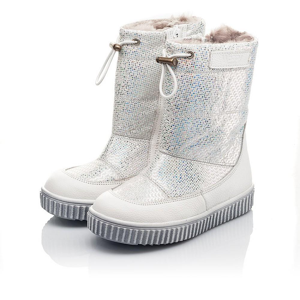 Детские зимние сапоги на меху Woopy Fashion белые для девочек натуральная кожа и нубук размер 23-33 (4416) Фото 3