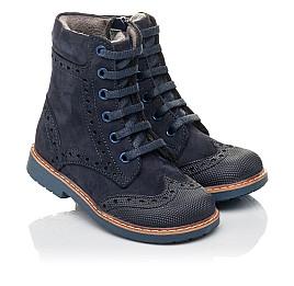 Детские демисезонные ботинки Woopy Orthopedic темно-синие для девочек натуральный нубук размер 21-24 (4417) Фото 1