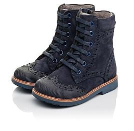 Детские демисезонные ботинки Woopy Orthopedic темно-синие для девочек натуральный нубук размер 21-24 (4417) Фото 3
