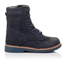 Детские демисезонные ботинки Woopy Orthopedic темно-синие для девочек натуральный нубук размер 21-24 (4417) Фото 4